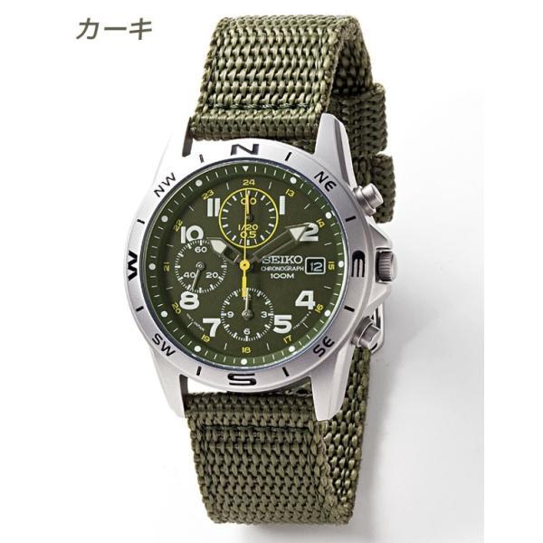 セイコー 腕時計 クロノグラフ 逆輸入 メッシュバンド ナイロンバンド 10気圧防水 ミリタリーウォッチ SEIKO アナログ 腕時計 海外モデル アウトドア 新品 wide 07