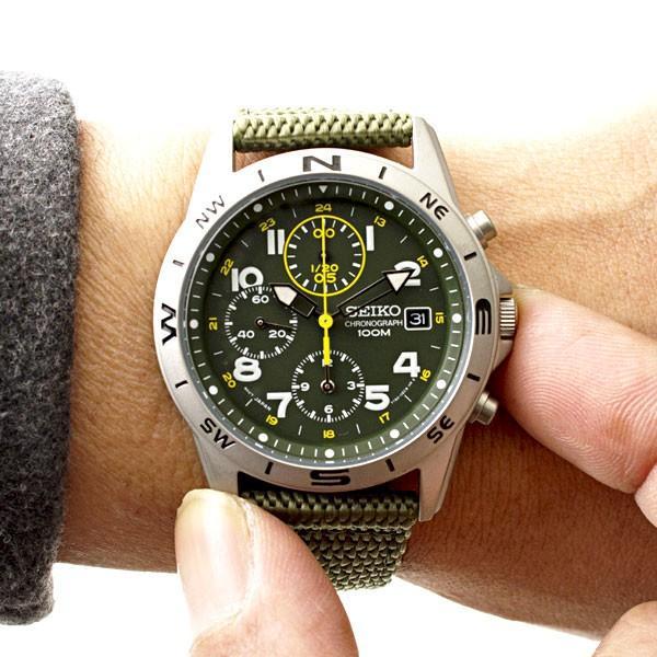 セイコー 腕時計 クロノグラフ 逆輸入 メッシュバンド ナイロンバンド 10気圧防水 ミリタリーウォッチ SEIKO アナログ 腕時計 海外モデル アウトドア 新品 wide 08