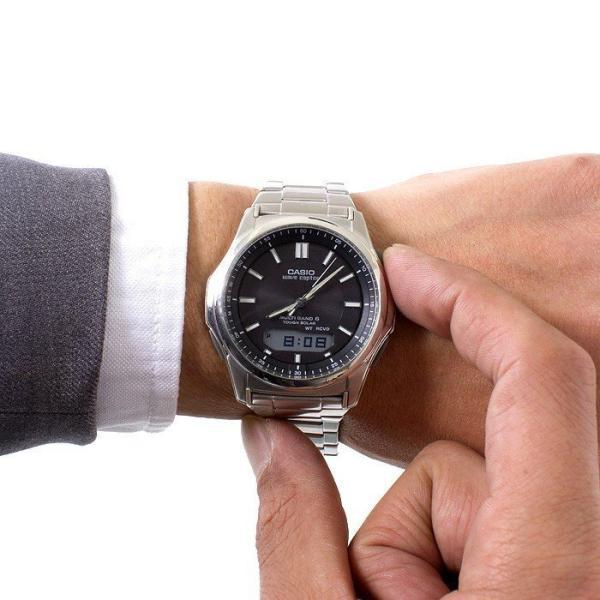 腕時計 メンズ 電波ソーラー カシオ アナログ 薄型 見やすい おしゃれ 男性用 紳士 日付 曜日 軽い 薄い ブランド CASIO じゅん散歩 ロッピング|wide|05