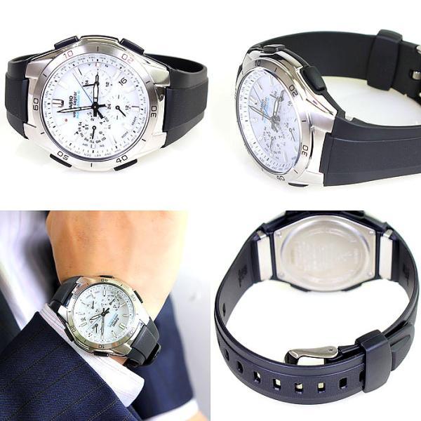 腕時計 メンズ 電波ソーラー アナログ クロノグラフ ビジネス 薄型 カシオ腕時計 軽量 プレゼント 男性用 紳士用 ラバーバンド ゴムバンド 防水|wide|03