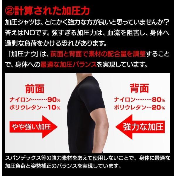 加圧シャツ メンズ 加圧下着 加圧インナー ダイエット コンプレッションウェア  Tシャツ 半袖 ハード  姿勢補正 猫背|wide|18