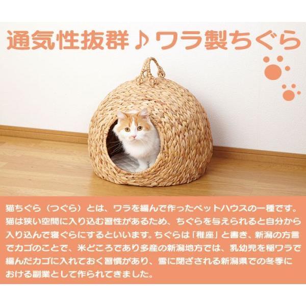 猫ちぐら 猫ハウス ドーム型 ペットちぐら ねこちぐら ネコ ねこ 猫グッズ 猫用 ペットハウス カゴ つぐら 寝床 キャットハウス マット付き おうち|wide|02