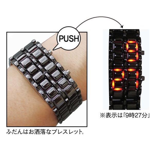 腕時計 メンズ LED デジタル ブレスレット おしゃれ お洒落 男性 紳士 プレゼント ギフト 40代 50代 ブレスウォッチ シルバー ゴールド 日付 うでどけい|wide|02