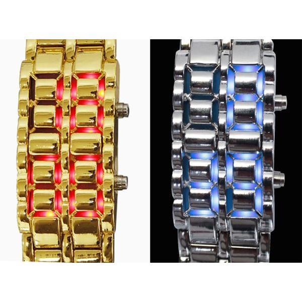 腕時計 メンズ LED デジタル ブレスレット おしゃれ お洒落 男性 紳士 プレゼント ギフト 40代 50代 ブレスウォッチ シルバー ゴールド 日付 うでどけい|wide|04
