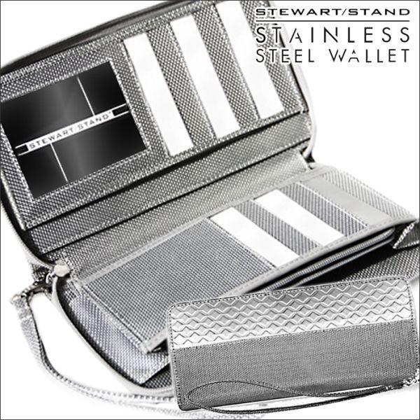 財布 長財布 メンズ ラウンドファスナー 軽量 軽い スキミング防止 男性 紳士 鉄製 金属 メタル ステンレススチール製 スチュワートスタンド|wide
