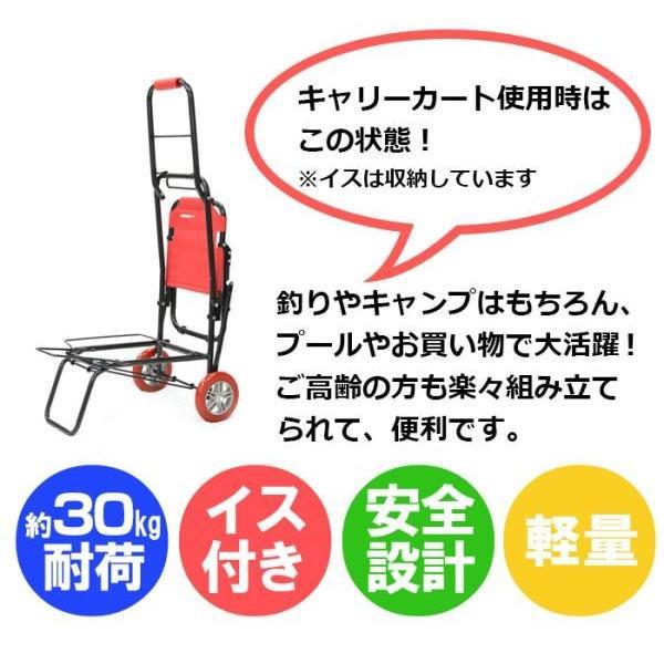 キャリーカート 椅子付き 荷物キャリー 耐荷重80kg 釣り 介護 アウトドア キャンプ 旅行 椅子 折りたたみ 4輪 軽量 軽い いす イス付き スチール 鉄製|wide|05
