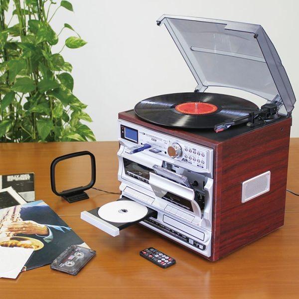 レコードプレーヤー CD カセットテープ FMラジオ AMラジオ マルチプレーヤー CD録音 ダブルドライブ アナログ録音 デジタル録音 ダブルデッキ|wide|05