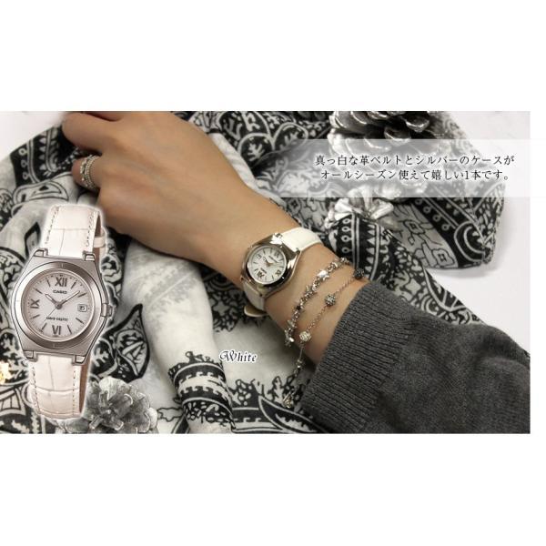 腕時計 レディース 電波ソーラー カシオ 軽い 軽量14.5g 電波時計 革ベルト おしゃれ 革バンド 本革 女性用 婦人用 5気圧防水 社会人|wide|07