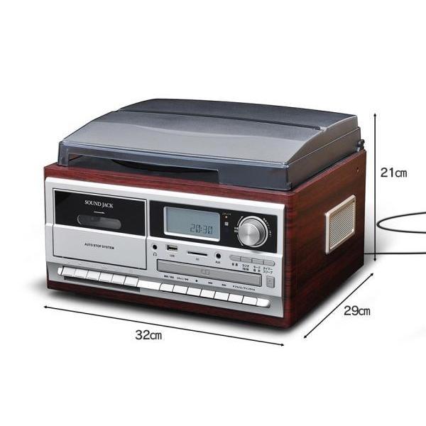 マルチレコードプレーヤー ターンテーブル レコード ベルトドライブ カセット CD デジタル録音 アナログ録音 SDカード USBメモリ AMラジオ FMラジオ|wide|03