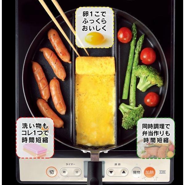 丸型 フライパン 卵焼き器 玉子焼き 日本製 IH対応 ガス火対応 仕切り 3種類 センターエッグ トリプルパン お弁当 朝食 時短 wide 02