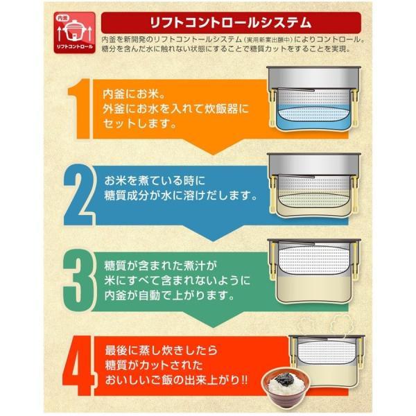 炊飯器 糖質カット炊飯器 炊飯ジャー 低糖質炊飯 サンコー 6合 糖質35%カット 糖質制限 ダイエット おいしい 保温機能 蒸気 78086-1|wide|04