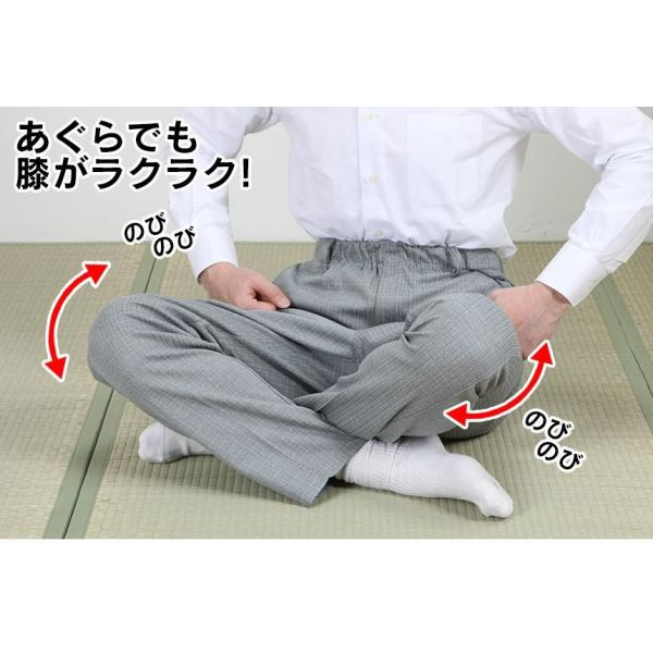 スラックス メンズ 夏用 おしゃれ チェック柄 3本 セット 裾上げ済み ウエストゴム 日本製 ワンタック 涼感 スリム 安い|wide|02