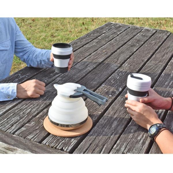 電気ケトル 持ち運び 折りたたみ ポータブル 外用 コーヒー セット ケトル カップ2個 IH対応 ガスコンロ対応 シリコン製 コンパクト 収納 oritam オリタム|wide|08