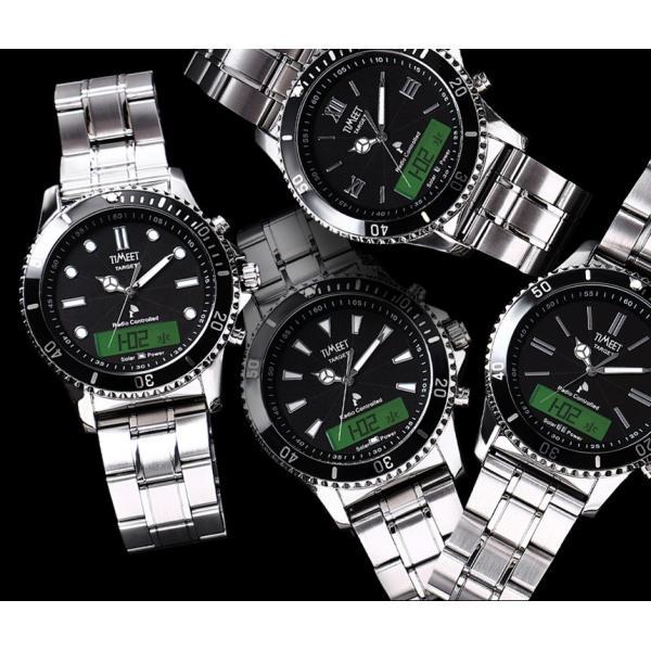 腕時計 メンズ 電波ソーラー 夏用 メタルバンド 紳士腕時計 アナログ 男性用 ベルト交換可能 デジアナ デジタル おしゃれ かっこいい ティミット wide 07