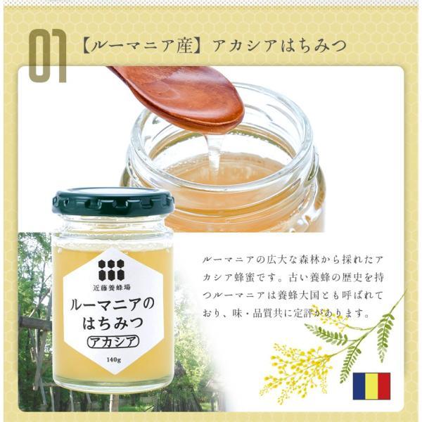 はちみつ 蜂蜜 低温加熱 瓶詰 140g × 4本 ハチミツ アカシア 百花 ライチ コーヒー セット プレゼント 2020|wide|05