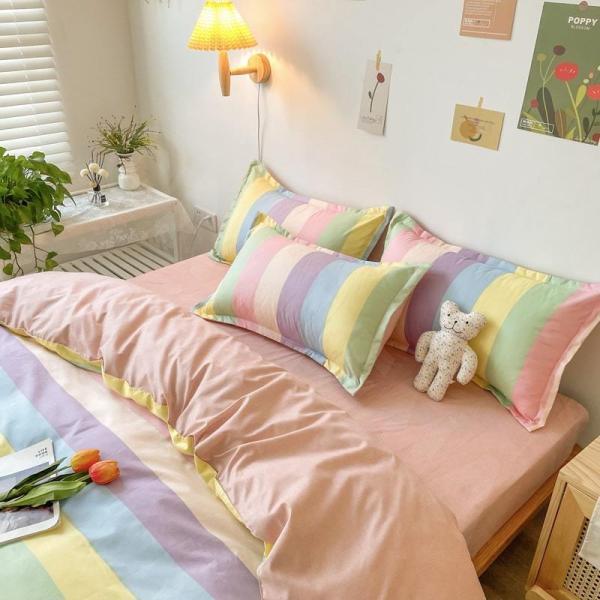 シングル サイズ ベッド シーツ 枕カバー 三点 3点セット フラミンゴ サボテン モンステラ ユニコーン 鹿 北欧 柄 ベットフラット 布団カバー 枕カバーセット|wigggy|13