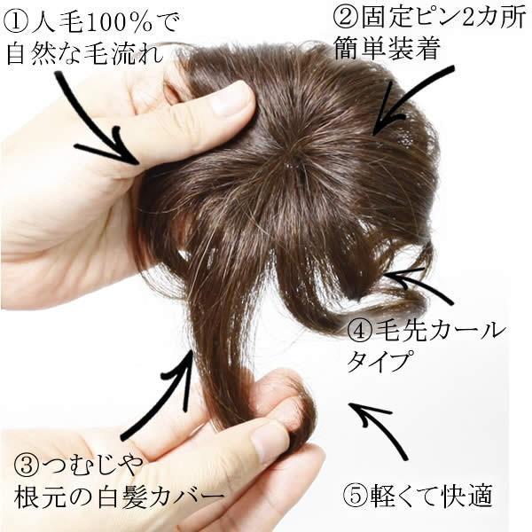ウィッグ ヘアピース  人毛100% 円形脱毛症 部分ウィッグ かつら 送料無料 つむじ カバー 5009-curl|wigwigrunes|06