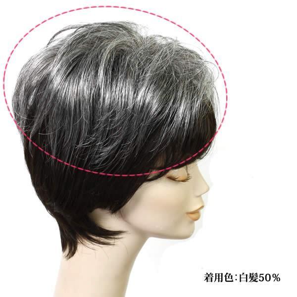 ウィッグ 白髪 しらが ヘアピース ミセス かつら 部分ウィッグ 送料無料 ふんわりボリューム tp6415|wigwigrunes|04