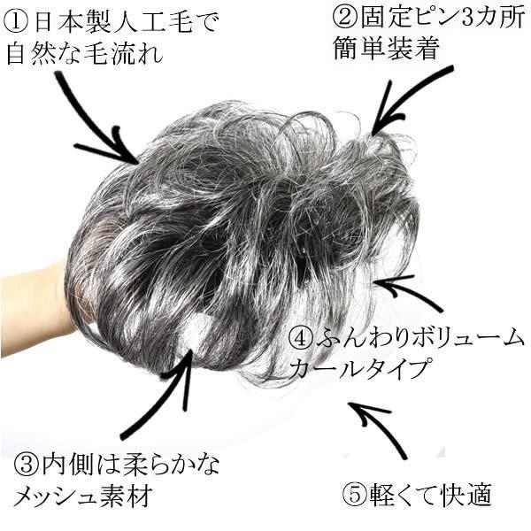ウィッグ 白髪 しらが ヘアピース ミセス かつら 部分ウィッグ 送料無料 ふんわりボリューム tp6415|wigwigrunes|06