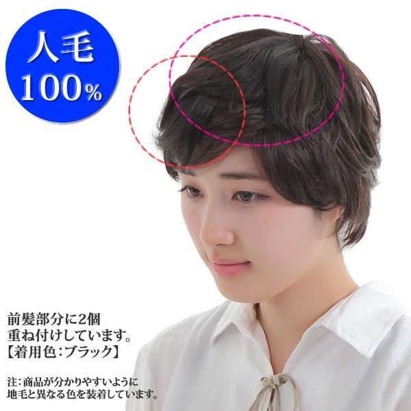 ウィッグ ヘアピース  人毛100% 円形脱毛症 部分ウィッグ かつら 送料無料 メッシュ kz1|wigwigrunes|05