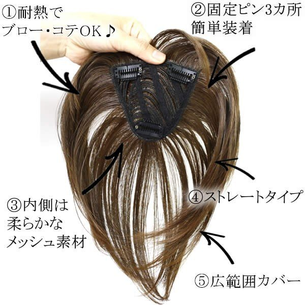 前髪 ウィッグ ヘアピース 耐熱 ストレート 送料無料 かつら 部分ウィッグ  lw06nanoset