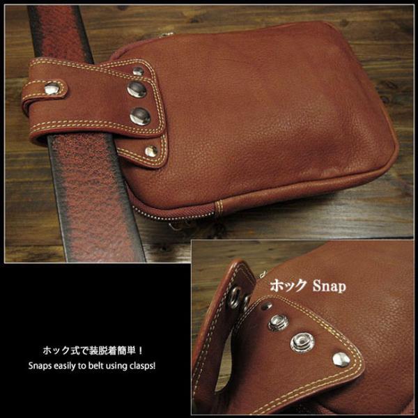 メンズ ウエストポーチ ヒップバッグ ウエストバッグ レザー/革 ブラウン/ブラック (ID wp3651r56)
