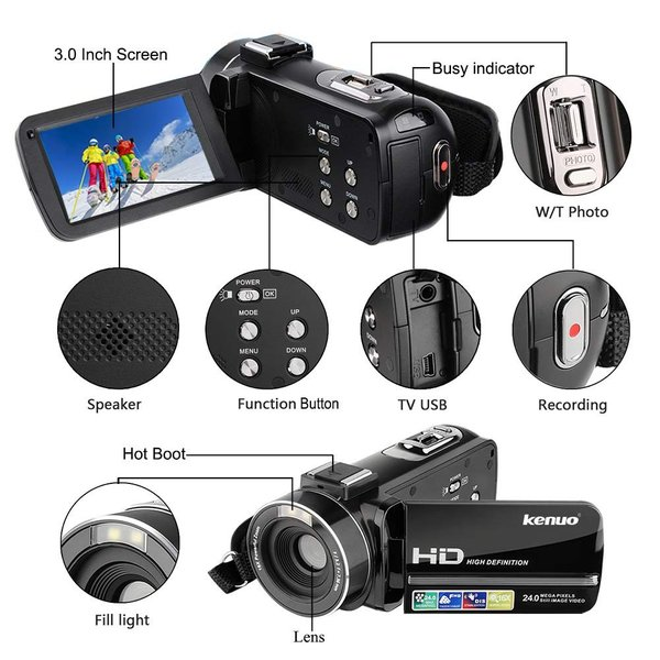Kenuo ビデオカメラ デジタルビデオカメラ HD1080P 3.0インチ液晶ディスプレイ 270度回転スクリーン 16倍デジタルズーム