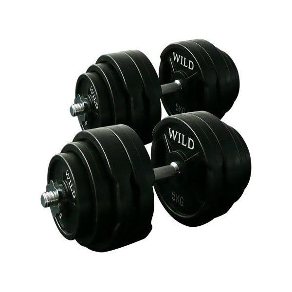 ダンベルセット 60kg/550mmロングシャフト 黒ラバー / 筋トレ ベンチプレス バーベル トレーニング器具 腹筋