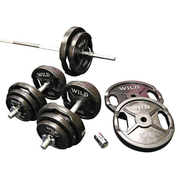 バーベルダンベルセット 100kg 黒ラバー / バーベルスクワット ダンベル 筋トレ トレーニング器具 ベンチプレス