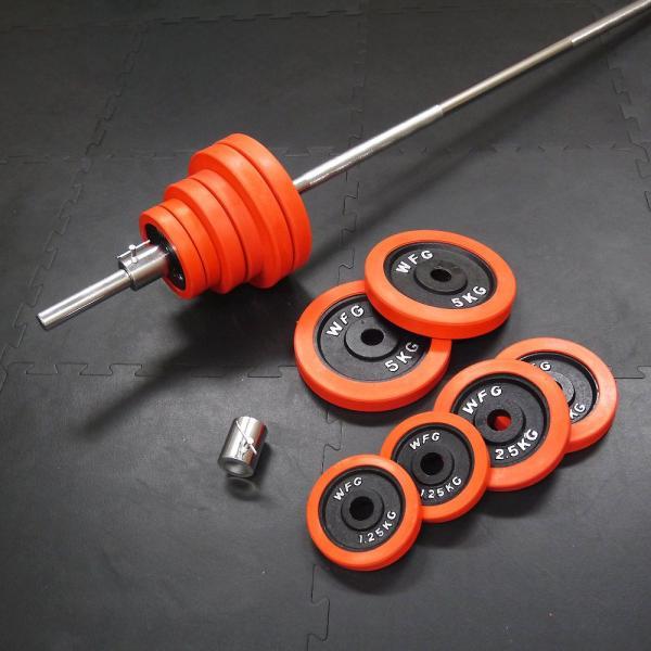 バーベルセット 80kg 赤ラバー / バーベルスクワット ダンベル 筋トレ トレーニング器具 ベンチプレス