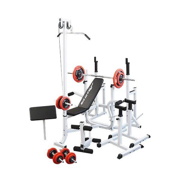 《パッドプレゼント中》 マルチフルセット 赤ラバー70kg / 筋トレ トレーニング器具 ダンベル バーベル ベンチプレス ホームジム ワイルドフィット