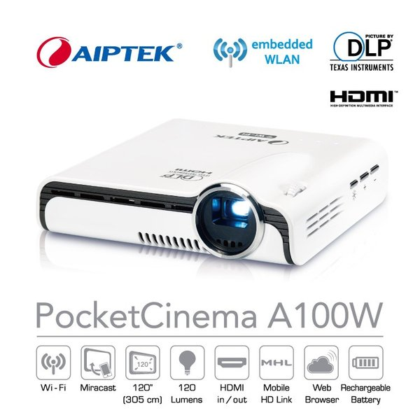 AIPTEK Wi-Fi プロジェクター Pocket Cinema A100W Miracast Airplay 対応 最大120インチ|will-be-mart
