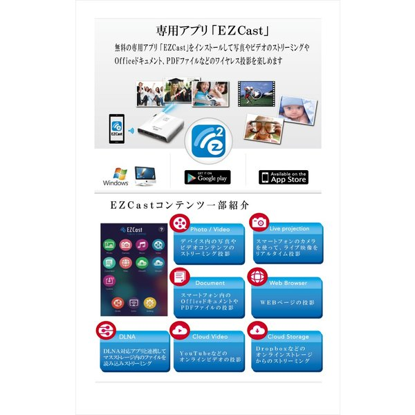 AIPTEK Wi-Fi プロジェクター Pocket Cinema A100W Miracast Airplay 対応 最大120インチ|will-be-mart|05
