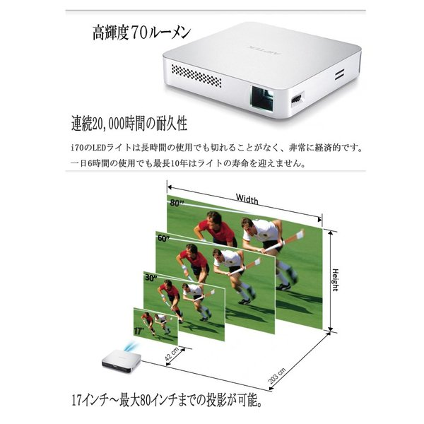 AIPTEK Wi-Fi プロジェクター Mobile Cinema i70 Miracast Airplay 対応 最大80インチ|will-be-mart|06