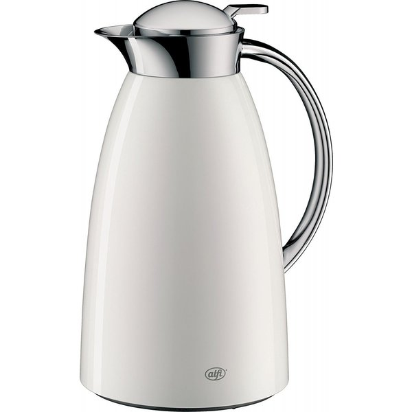 Alfi Gusto Glass Vacuum Lacquered Metal Thermal Carafe for Hot and Cold Beverages, 1.0 L, White [並行輸入品]