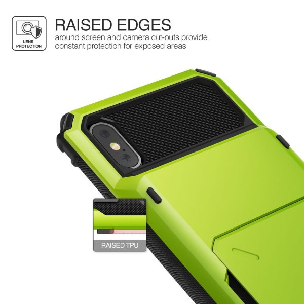 2017 D.Folder - Lime Green Hybrid Card Slot Wallet Cover Shock Absorbent Cover for Apple iPhone X//iPhone 10 iPhone X Case, by Lumion HEAVY DUTY DROP PROTECTION