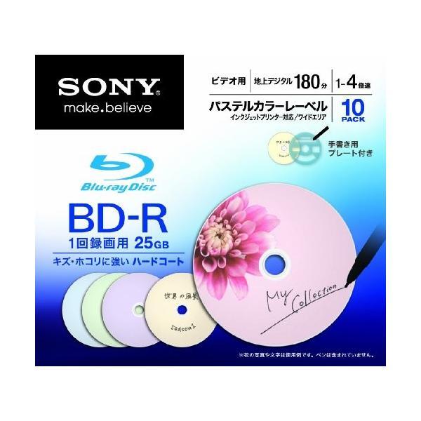 SONY ビデオ用BD-R 追記型 片面1層25GB 4倍速 パステルカラー 10枚P 10BNR1VCCS4|willy-willy-zakka