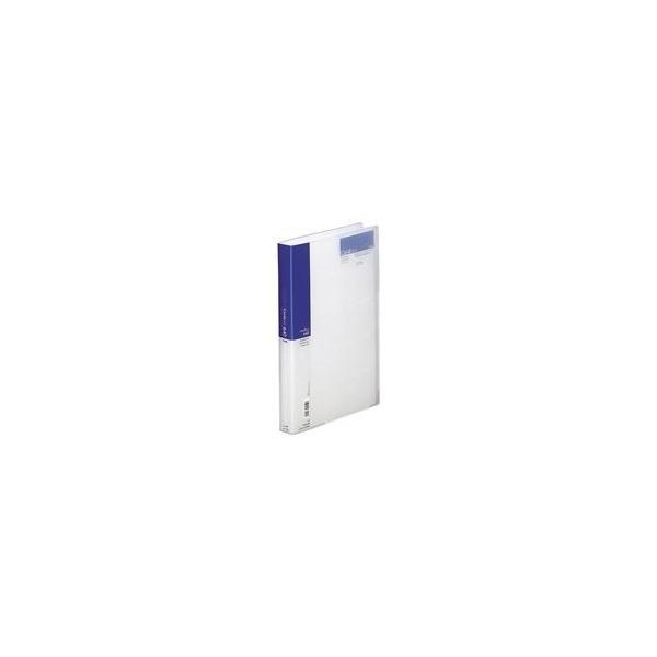 (業務用5セット) LIHITLAB 名刺ホルダー/名刺ファイル 〔A4〕 片面ポケット ヨコ入れ A-946 藍