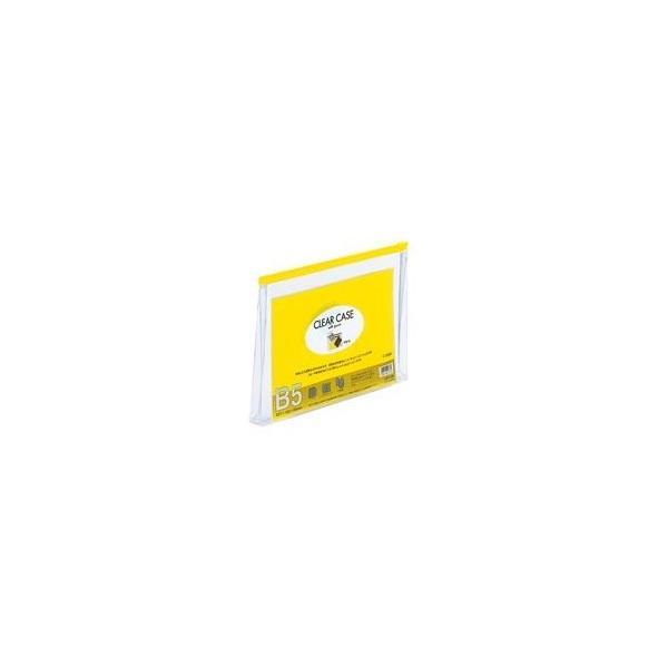 (業務用100セット) LIHITLAB クリアケース/クリアポーチ 〔B5/ワイドマチ付き〕 ヨコ型 F-73SM 黄