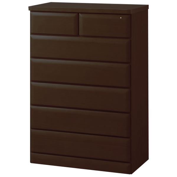 木製 タンス 衣類収納 〔6段 幅75cm ダークブラウン〕 引き出し付き 鍵付き 『天然木多サイズチェスト』 〔寝室 ベッドルーム〕