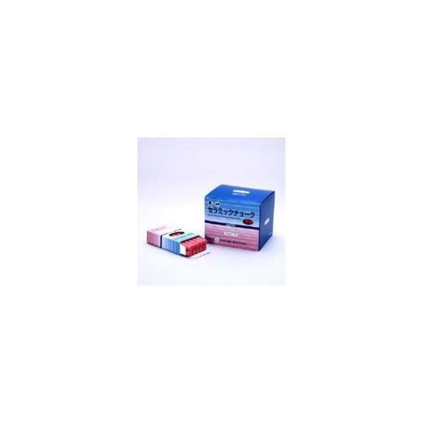 (まとめ) 日本白墨天神印セラミックチョーク(炭酸カルシウム製) 赤 CCH-2 1箱(80本) 〔×5セット〕