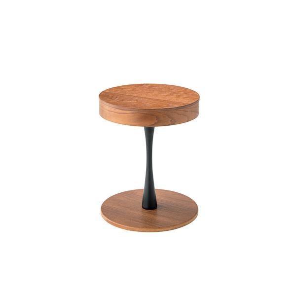 ミニテーブル/カフェテーブル ブラウン 〔幅40cm〕 木製 円形天板 収納付き 『トレーサイドテーブル』 〔リビング ダイニング〕