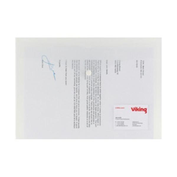(まとめ)オフィスデポオリジナル 横型書類ケース・名刺ポケット付 A4 クリア 1パック(5枚)〔×20セット〕