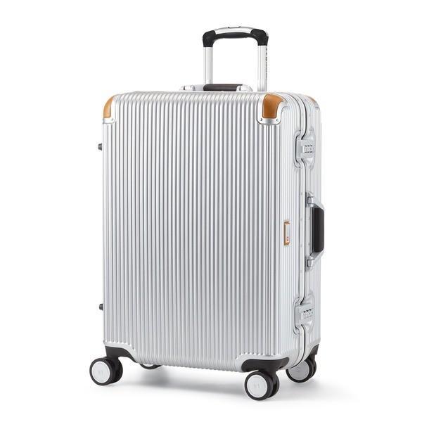 軽量 スーツケース/旅行カバン 〔64L シルバー〕 4〜6泊用 ポリカーボネード TSAロック 4輪ダブルキャスター スイスミリタリー〔代引不可〕