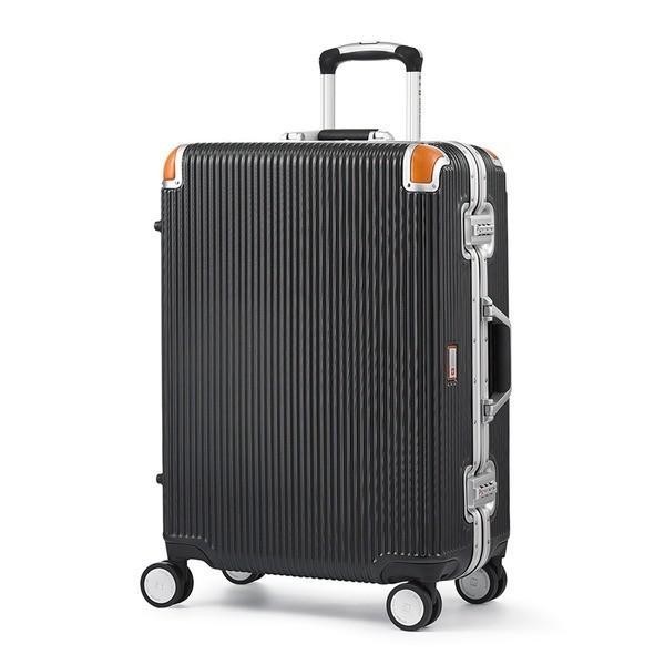 軽量 スーツケース/旅行カバン 〔64L ブラック〕 4〜6泊用 ポリカーボネード TSAロック 4輪ダブルキャスター スイスミリタリー〔代引不可〕