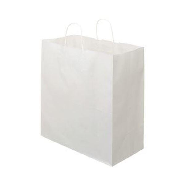(まとめ)TANOSEE 紙手提袋 丸紐マチ広・特大 ヨコ430×タテ440×マチ幅210mm 白無地 1パック(50枚)〔×5セット〕
