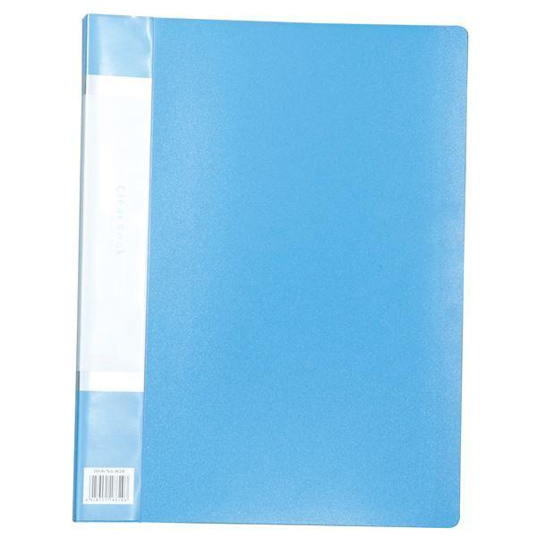 (まとめ)クリアブックB 厚 A4 20ポケット ブルー〔×20セット〕