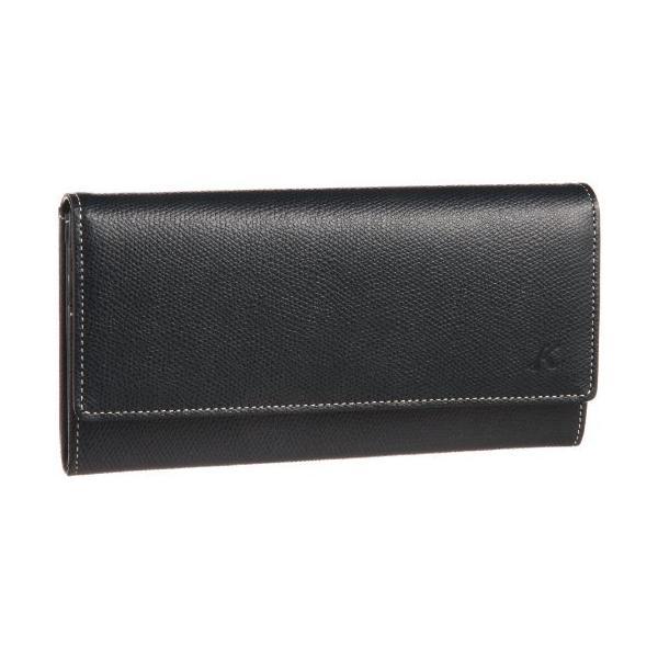 キタムラ 長財布キズが目立ちにくい素材PH0331ダークブルー/アイボリーステッチ 紺 10911