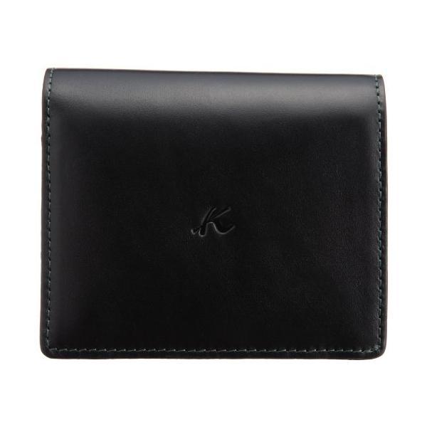 キタムラ 財布二折財布ZH0128ブラック/ダークグリーンステッチ 黒 15321