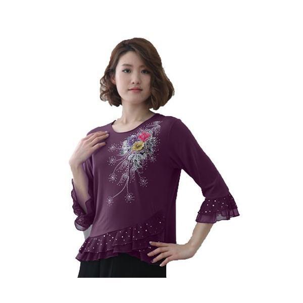 社交ダンス コーラス衣装 コーラスブラウス 豪華な刺繍 ジルコン柄が華やかに上品なデザイン裾と袖に貼りスパンコール|wing12|02